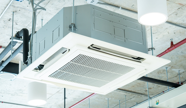Ceiling air conditioning unit in a commercial space